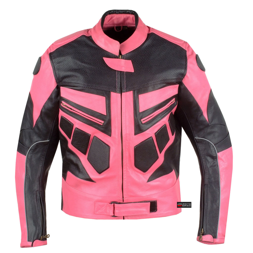 8a9afea9a90f NEW WOMENS MOTORCYCLE CE ARMOR LEATHER JACKET PINK