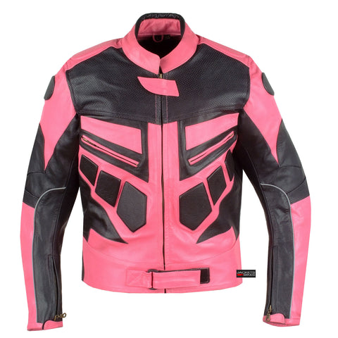 NEW WOMENS MOTORCYCLE CE ARMOR LEATHER JACKET PINK