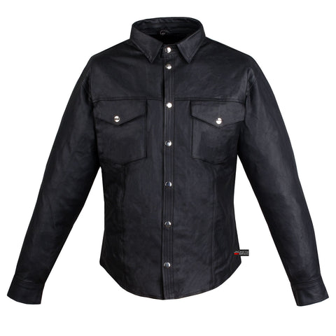 MEN'S SOFT COW HIDE LEATHER SHIRT POLY LINER BLACK