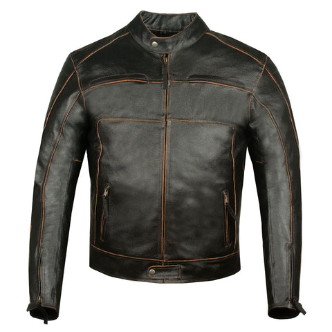 Men's Tribune Vintage Motorcycle Street Cruiser Armor Leather Biker Jacket