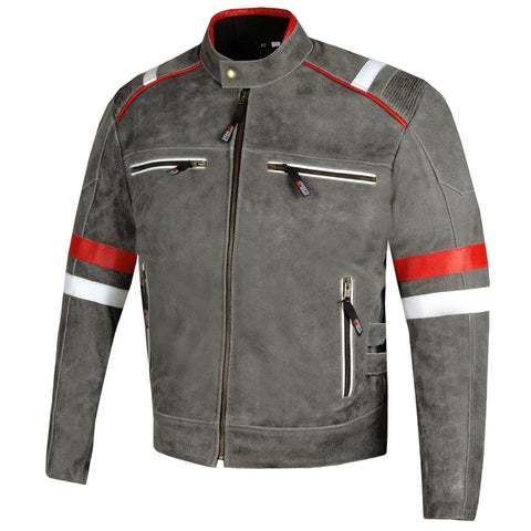 Men's Freedom Vintage Distress Cowhide Leather Biker Armor Motorcycle Jacket