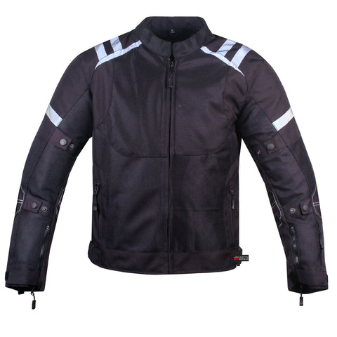 Men's Air Mesh Waterproof Motorcycle Rain Black Reflective Armor Jacket