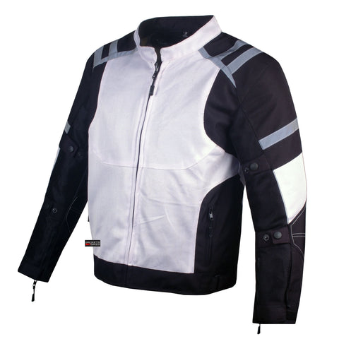 Men's Air Mesh Waterproof Motorcycle Rain White Reflective Armor Jacket