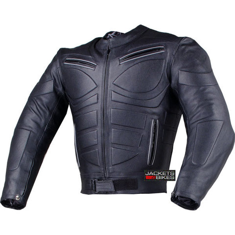BLADE MOTORCYCLE RIDING ARMOR BIKER LEATHER JACKET BLACK