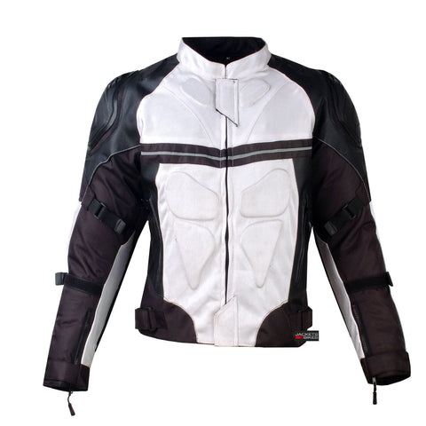 PRO LEATHER & MESH MOTORCYCLE WATERPROOF JACKET WHITE WITH EXTERNAL ARMOR