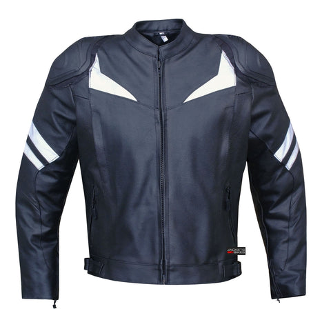 FLASH MOTORCYCLE BIKER LEATHER JACKET with ARMOR BLACK