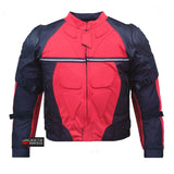 PRO LEATHER & MESH MOTORCYCLE WATERPROOF JACKET RED WITH EXTERNAL ARMOR