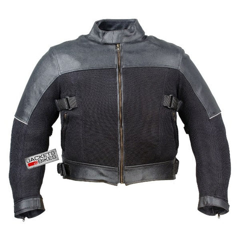 MOTORCYCLE SCOOTER MESH LEATHER ARMOR JACKET BLACK