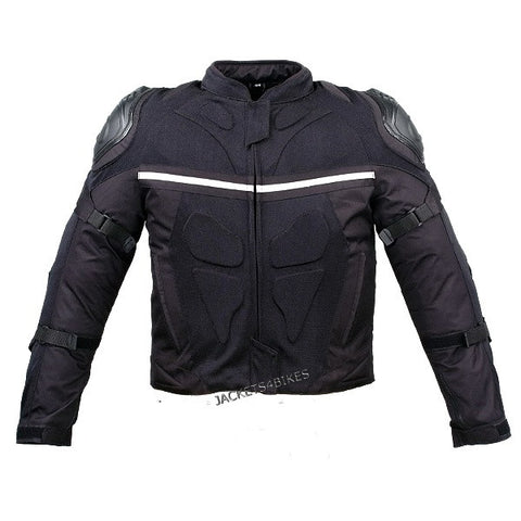 Mesh & Leather Motorcycle Jacket Weather Resistant with External Armor Black
