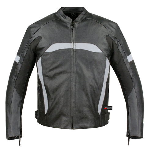 Reflective Star Motorcycle Leather Jacket Biker Armor Black High-Visibility
