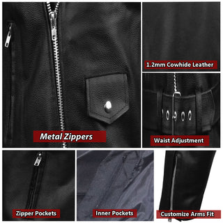 00a1a95387f ... Men s Classic Leather Motorcycle Jacket Biker Style Chopper Police ...