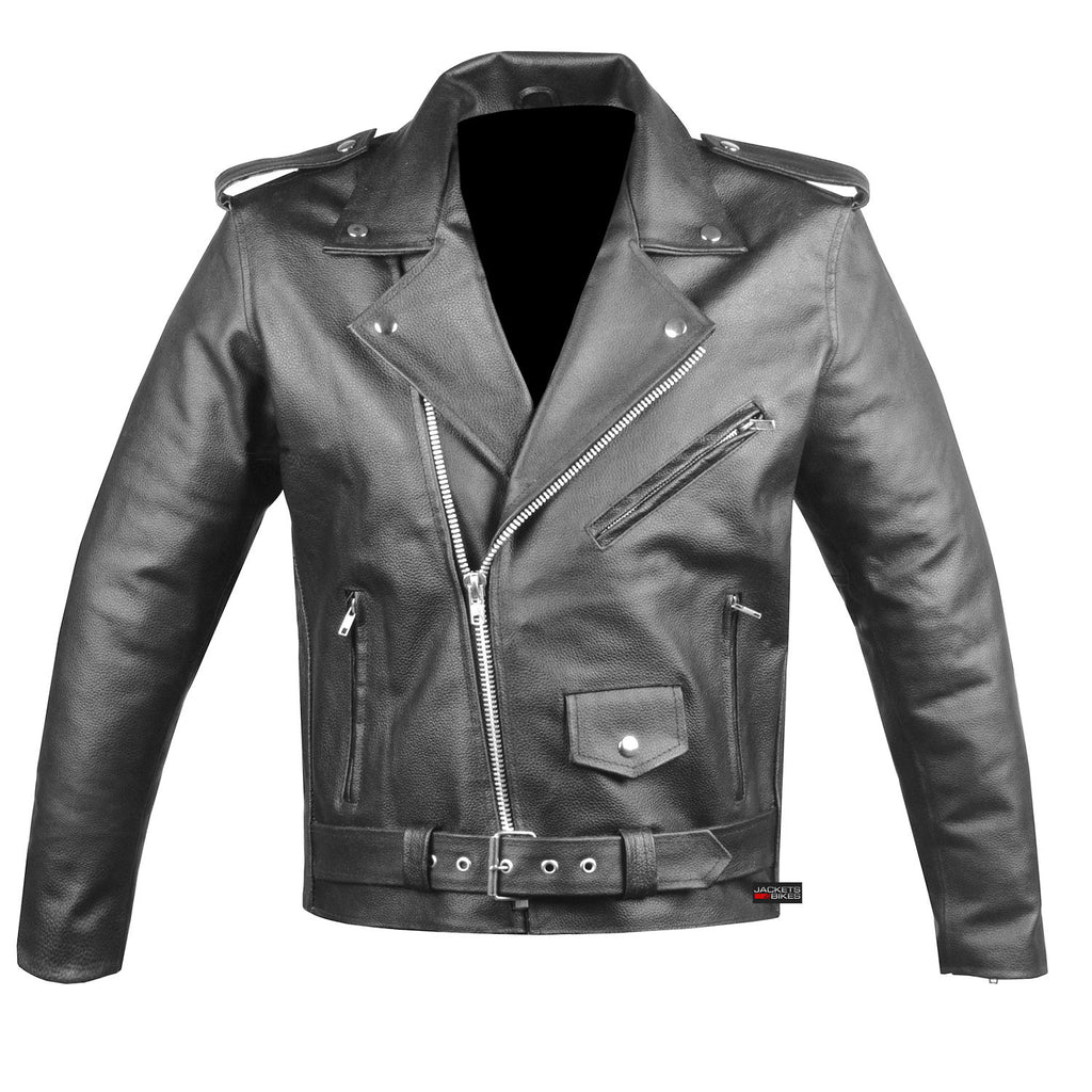 Men S Classic Leather Motorcycle Jacket Biker Style Chopper Police Coat