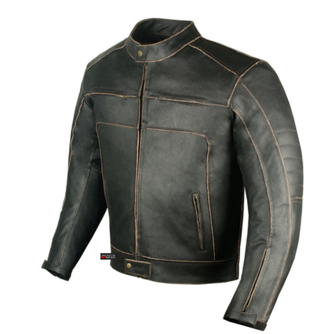 Men's Vintage Motorcycle Cruiser Armor Ventilated Leather Black Biker Jacket
