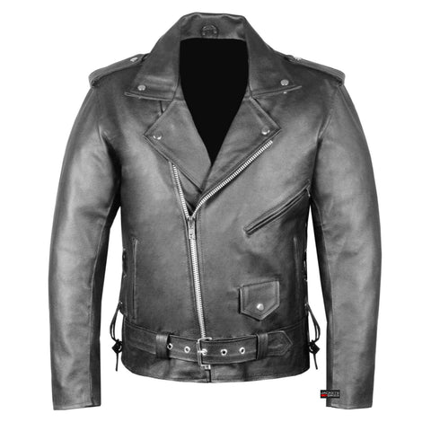 New Men's Classic Police Style Genuine Leather Motorcycle Jacket Side Lace