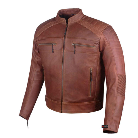 Biker Vintage Motorcycle Distress Brown Cafe Racer Men Armor Leather Jacket