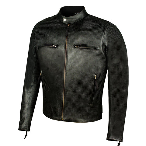 Men's Infinity Airflow Perforated Leather Motorcycle Armor Biker Jacket