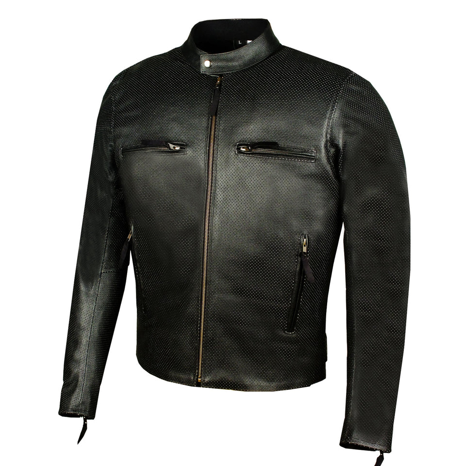 c333fd6b3 Men's Infinity Airflow Perforated Leather Motorcycle Armor Biker Jacket