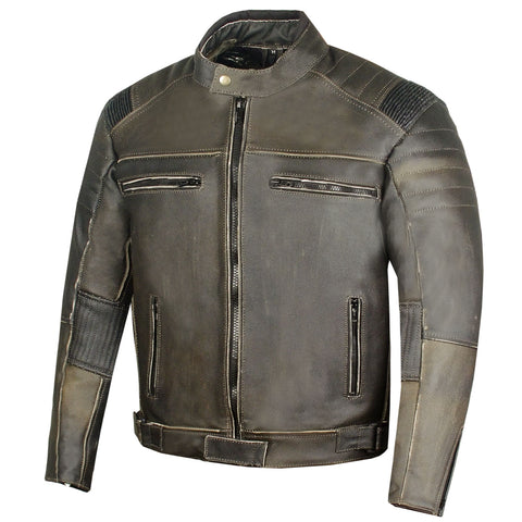 GLORY Men's Vintage Distress Motorcycle Armor Leather Black Biker Jacket