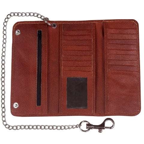 Genuine Cowhide Leather Long Metal Chain Trifold Motorcycle Biker Trucker Wallet