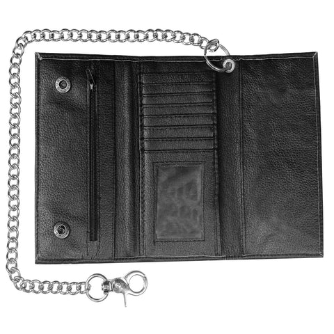 Cowhide Genuine Leather Trifold Metal Chain Biker Tall Core Trucker Wallet