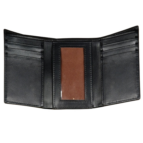 Men's Trifold Genuine Leather Wallet ID Window and Credit Card Holder Black