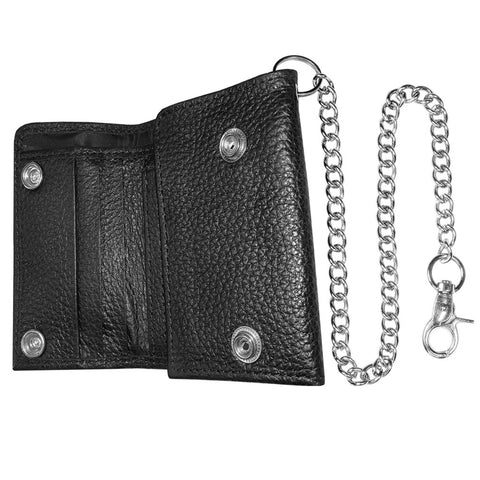 Genuine Leather Slim Light Trifold Metal Chain ID Window Motorcycle Biker Wallet