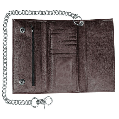 Premium Cowhide Leather Trifold Metal Chain Motorcycle Biker Trucker Wallet
