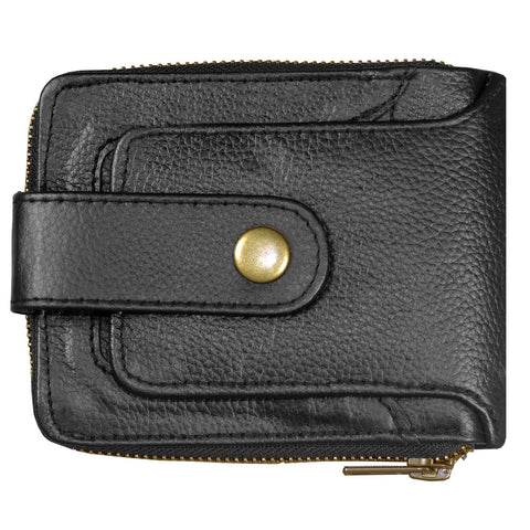 Men's Genuine Leather Large Capacity ID Window Card Coin Pocket