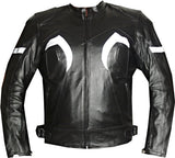 XR MOTORCYCLE LEATHER RACING HARD ARMOR JACKET Black