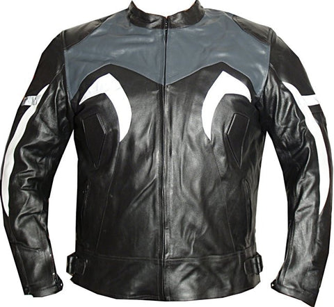XR MOTORCYCLE LEATHER RACING HARD ARMOR JACKET Gray