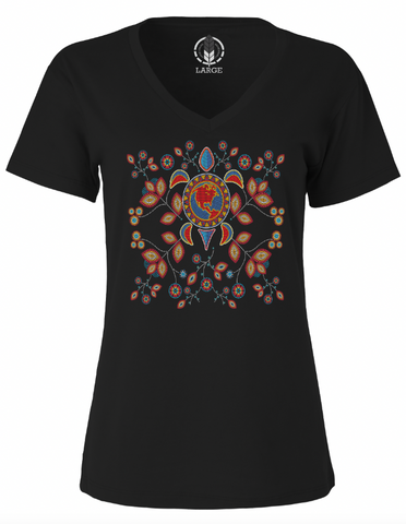 WOMEN'S BEADED TURTLE ISLAND / V-NECK TEE