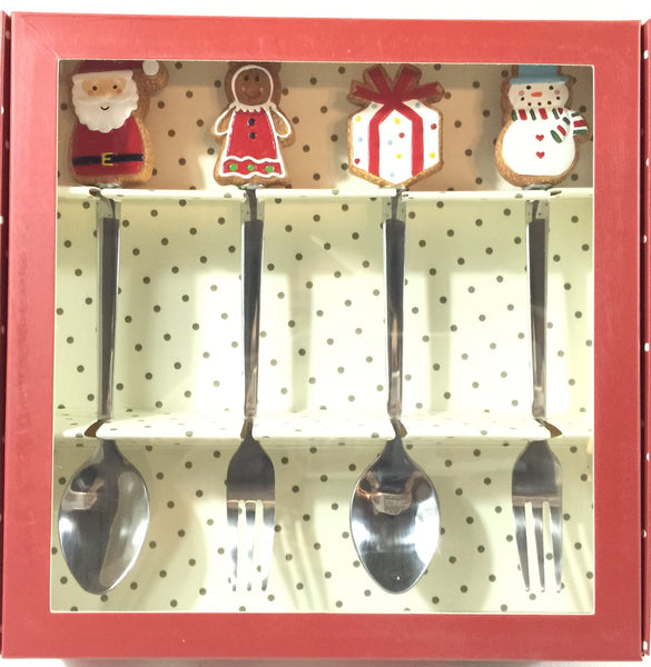 Christmas Gift Set #TeaSpoon+CakeFork 4pcs