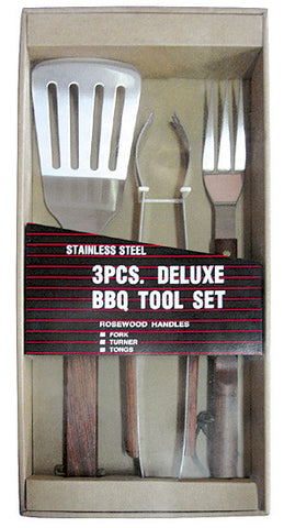 BBQ Stainless Steel Rosewood Barbeque Tool Set 3pcs