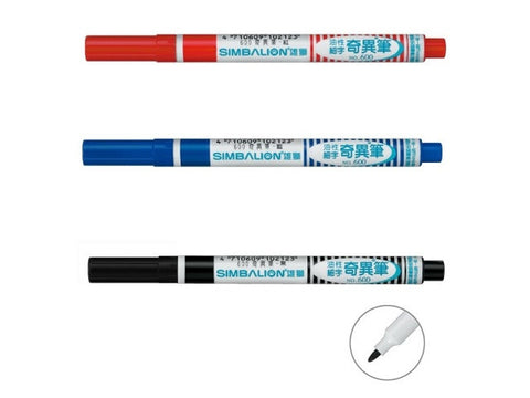 SIMBALION Single Head Permanent Marker (1 set of 3 pcs-BLACK/RED/BLUE/MIXED)