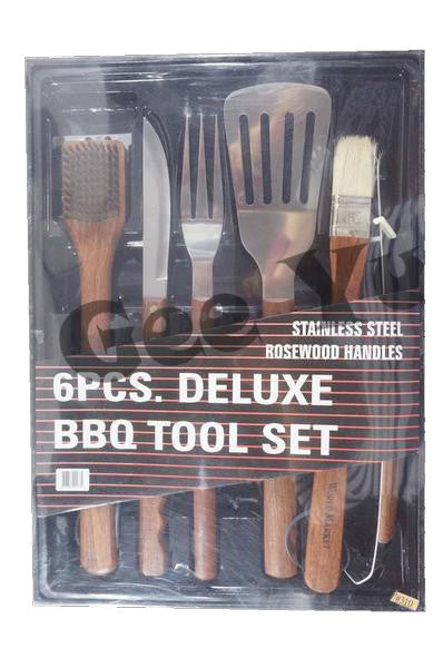 BBQ Stainless Steel Rosewood Barbeque Tool Set 6pcs