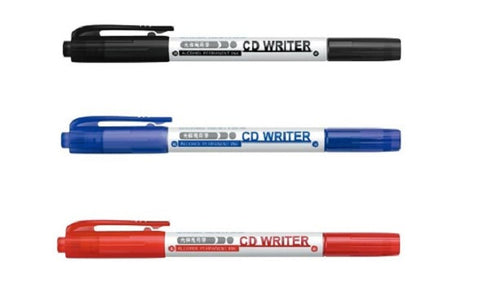 SIMBALION Double Head CD Writer Marker (1 set of 3 pcs) (BLACK/RED/BLUE/MIXED)