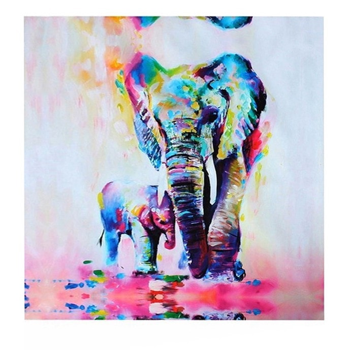 """Elephant Mother Protecting Her Calf"" Oil Canvas Painting"