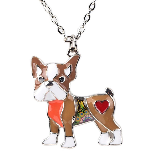 Colorful Boston Terrier Pendant Necklace