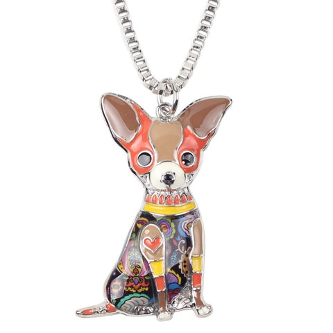 Colorful Chihuahua Choker Pendant Necklace