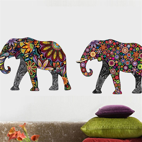 4 Pack Flower Elephant Wall Stickers