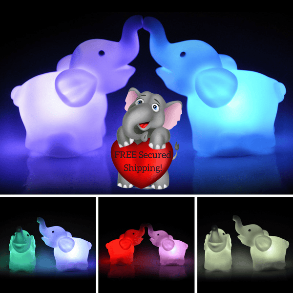 TWO MORE Elephant Color Changing LED Night Lights