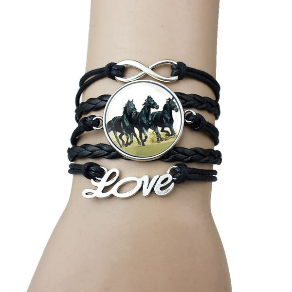 Handmade Horse Love Infinity Bracelets With Silver Charms