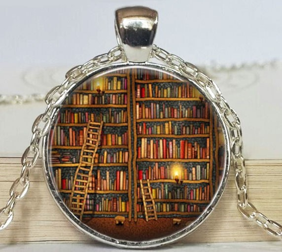 Vintage Library Lover Necklace