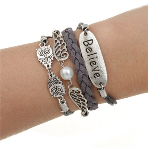 "Owls ""Believe"" Leather Multilayer Charm Bracelet - MyRiviv"