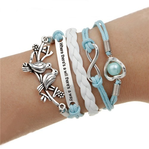 "Two Birds ""Where There's a Will There's a Way"" Leather Multilayer Charm Bracelet - MyRiviv"