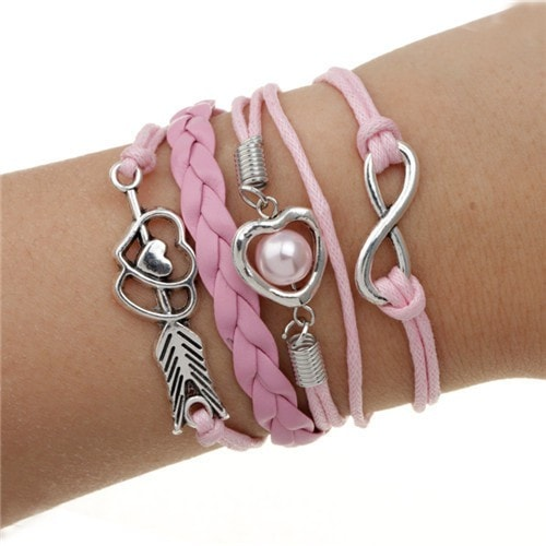 Hearts and Arrow Leather Multilayer Charm Bracelet