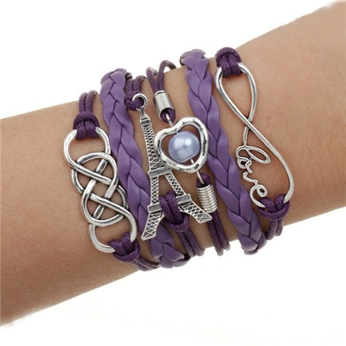 From Paris with Love Leather Multilayer Charm Bracelet - 5 Options