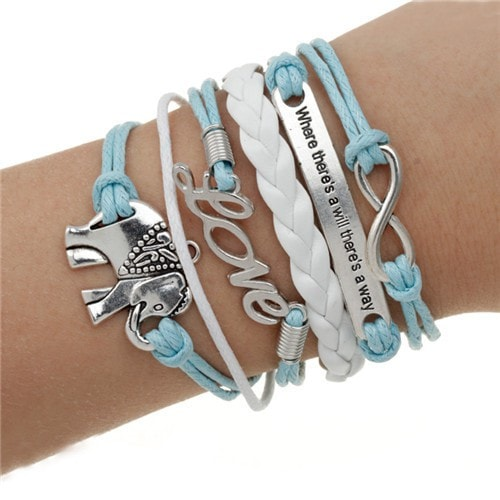 "Elephant ""Where There's a Will..."" Leather Charm Bracelet - MyRiviv"