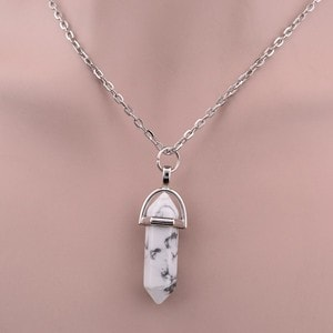 Natural Crystal Column Pendant Necklace - 11 Colors - MyRiviv