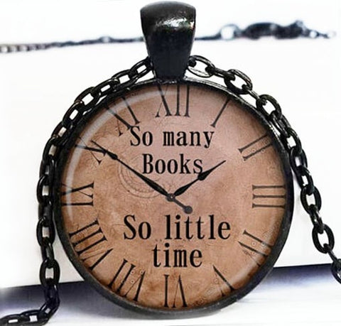 Vintage Book Lovers Necklace Watch